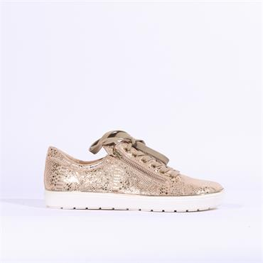 Caprice Manou Side Zip Casual Trainer - Gold Snake
