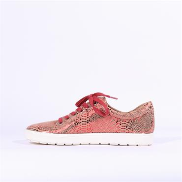 Caprice Manou Side Zip Casual Trainer - Red Snake