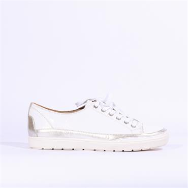 Caprice Laced Casual Shoe - White Silver