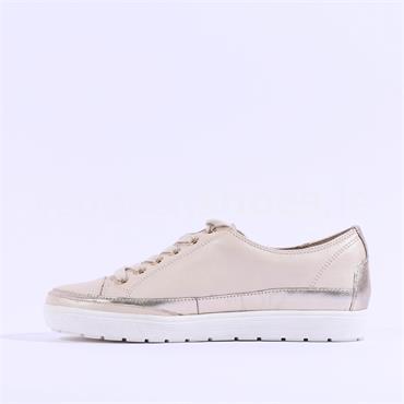 Caprice Leather Laced Casual Shoe Manou - Cream Leather