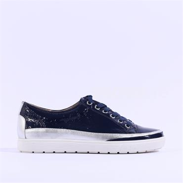 Caprice Leather Laced Casual Shoe Manou - Navy Patent