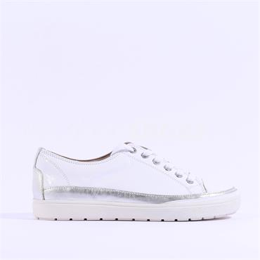 Caprice Leather Laced Casual Shoe Manou - White Patent