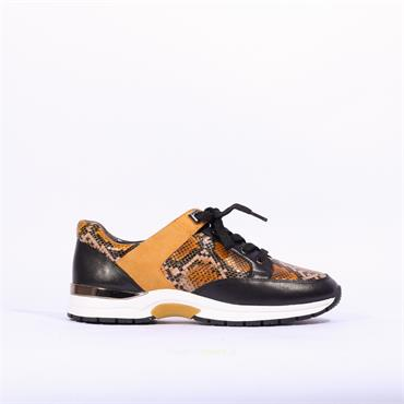 Caprice Leather Snake Print Trainer Lea - Yellow Snake