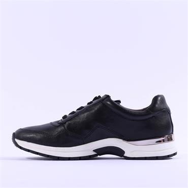 Caprice Lea Side Zip Lace Trainer - Black Leather