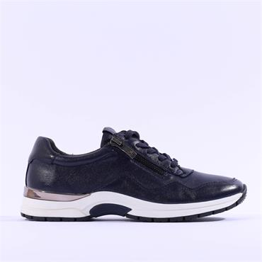 Caprice Lea Side Zip Lace Trainer - Navy Leather