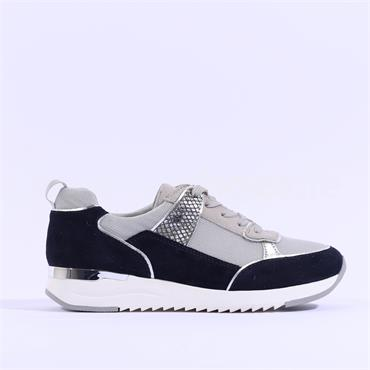 Caprice Snake Panel Lace Trainer Kaia - Navy Grey