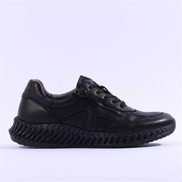 Caprice Niki Side Zip Lace Trainer - All Black