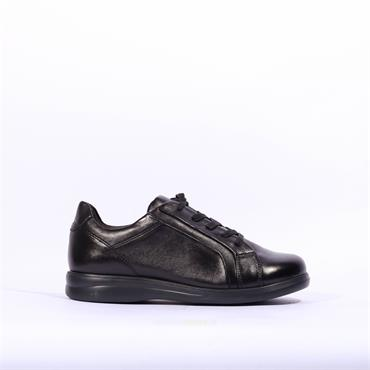 Caprice Lace Up Comfort Trainer Luise - Black Soft Leather