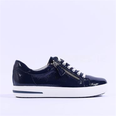 Caprice Platform Side Zip Trainer Manou - Navy Patent