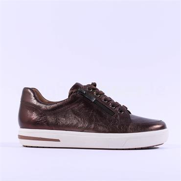 Caprice Manou Platform Side Zip Trainer - Brown Metallic