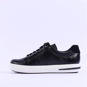 Caprice Platform Laced Trainer Manou - Black Leather