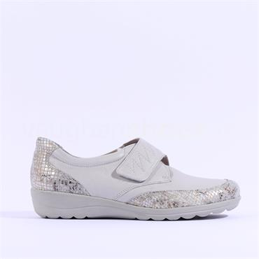Caprice Velcro Strap Comfort Shoe Vera - Light Grey Leather