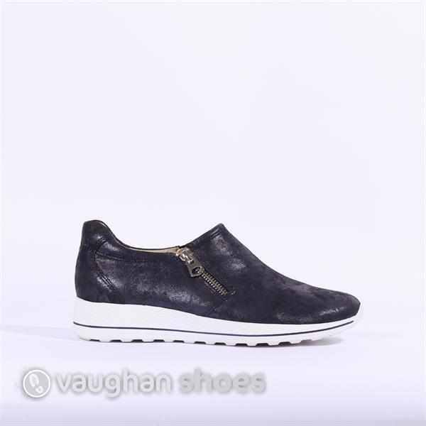 e2960e03dfacd Caprice Comfort Slip On Shoe Side Zip - Navy Shimmer   Vaughan Shoes ...