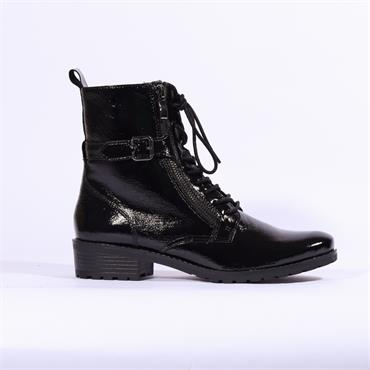 Caprice Military Style Ankle Boot - Black Pat Lea