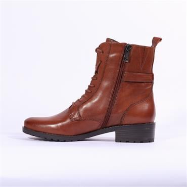 Caprice Military Style Ankle Boot - Cognac Leather