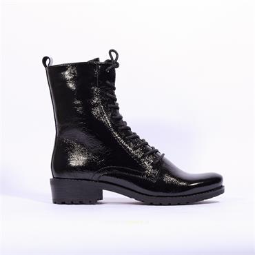 Caprice Franka Laced Up Military Boot - Black Patent
