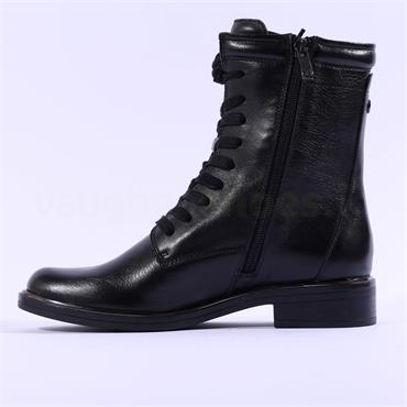 Caprice Kania Side Zip Military Boot - Black Leather