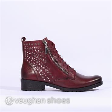 Caprice Boot Side Zip Stud Detail - Bordo