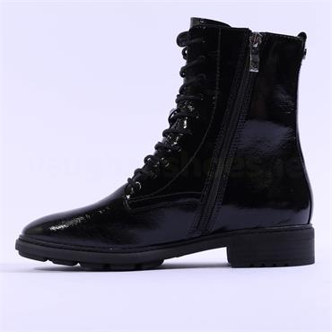 Caprice Lace Up Military Boot Joleen - Black Patent