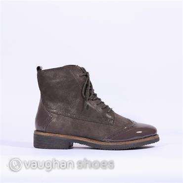 Caprice Lace Up Brogue Style Boot - Dark Grey