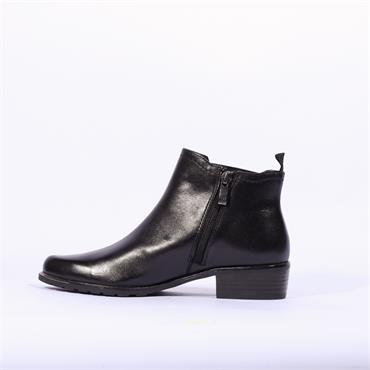 Caprice Side Gusset Ankle Boot Kelli - Black Leather