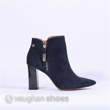 Caprice Chunky Heel Pointed Toe Boot - Navy