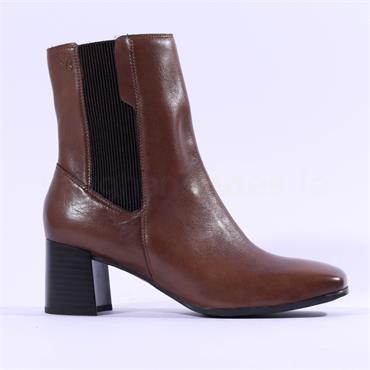 Caprice Nadia Block Heel Square Toe Boot - Cognac Leather