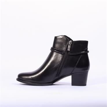 Caprice Rope Detail Ankle Boot Balina - Black Leather