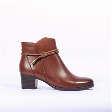 Caprice Rope Detail Ankle Boot Balina - Cognac Leather