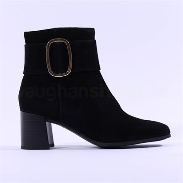 Caprice Nadia Block Heel Buckle Boot - Black Suede
