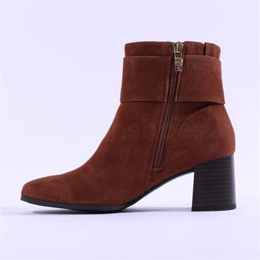 Caprice Nadia Block Heel Buckle Boot - Cognac Suede