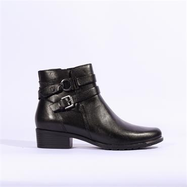 Caprice Double Strap Buckle Ankle Boot - Black Leather