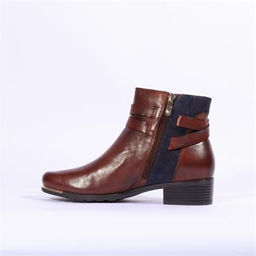 Caprice Double Strap Buckle Ankle Boot - Tan Combi Lea