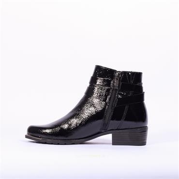 Caprice Double Strap Ankle Boot Kelli - Black Patent