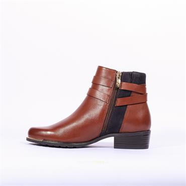 Caprice Double Strap Ankle Boot Kelli - Tan Navy Leather
