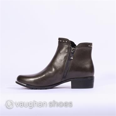 Caprice Low Heel Ankle Boot Stud Detail - Dark Grey Combi