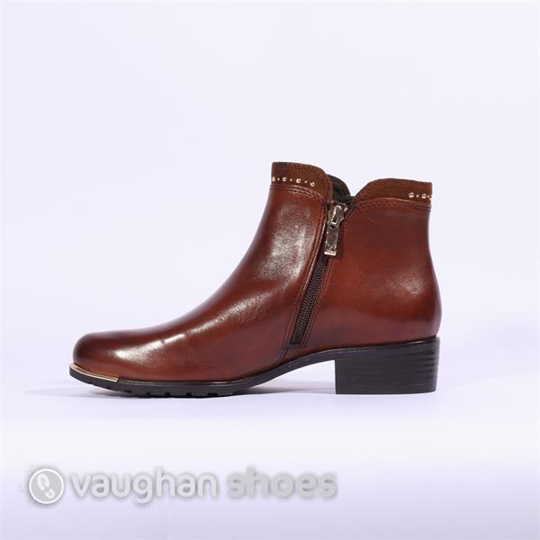 9d8d3e602eb0ff Caprice Low Heel Ankle Boot Stud Detail - Tan