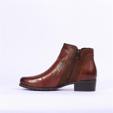 Caprice Toe Detail Side Zip Ankle Boot - Brown Leather