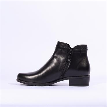 Caprice Kelli Plain Toe Ankle Boot - Black Leather