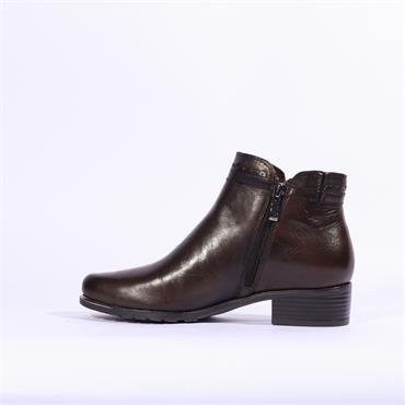 Caprice Kelli Plain Toe Ankle Boot - Dark Brown Lea
