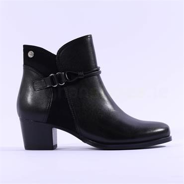 Caprice Balina Rope Low Block Heel Boot - Black Leather