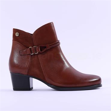 Caprice Balina Rope Low Block Heel Boot - Cognac Leather