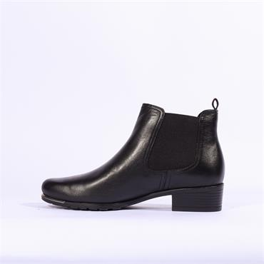 Caprice Side Gusset Ankle Boot - Black Leather
