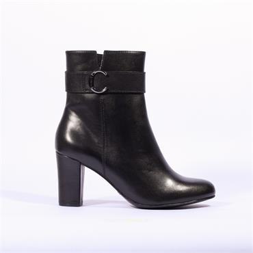 Caprice High Block Heel Strap Boot Britt - Black Leather