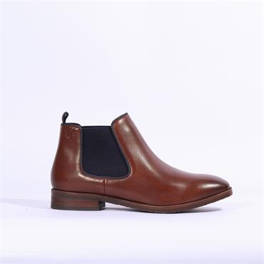 Caprice Joleen Ankle Boot Side Gusset - Cognac Leather
