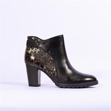 Caprice Leopard Detail Block Heel Boot - Black Leopard