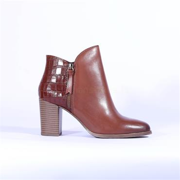 Caprice Snake Block Heel Boot Joeh - Cognac Leather