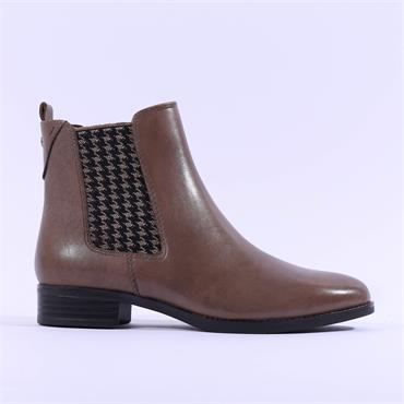 Caprice Belen Print Gusset Chelsea Boot - Taupe Leather