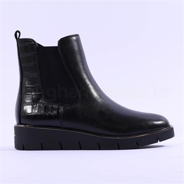 Caprice Belen Wedge Platform Gusset Boot - Black Croc