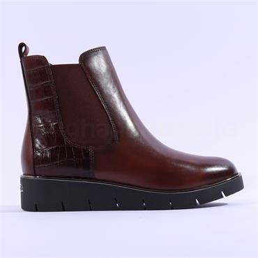 Caprice Belen Wedge Platform Gusset Boot - Cognac Croc